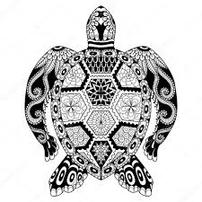 рисунок Zentangle черепаха векторное изображение Somjaicindy