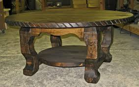 rustic round rustic coffee table with shelf