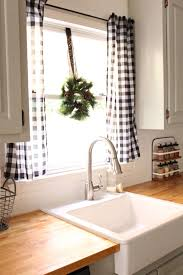 Black and white buffalo check curtains- laundry room