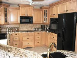 kitchen color ideas with oak cabinets and black appliances. Kitchen:Amusing Kitchen With Light Brown Wood Cabinets Also Modern Black Appliances Amusing Color Ideas Oak And B