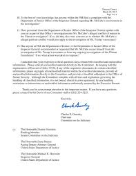 breaking congress just slapped comey across the chops this in the letter sen grassley makes reference to a nearly 700 000 donation to the political campaign of mccabe s wife by close clinton associates raising the