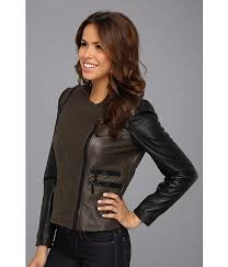 new arrival vince camuto olive black motorcycle jackets for women collarless two tone