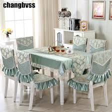 9pcs set embroidered fl table cloth with chair covers wedding decor tablecloth rectangular dining tabledining accessories