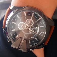 50mm large face fashion casual mens watches leather strap big case 1x watch in a opp bag hot