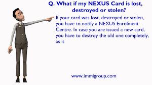 what if my nexus card is lost destro or stolen