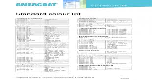 Amerlock 2 Color Chart 14684 Standard Colour Standar2012 03 10steelguard 2458 Ral