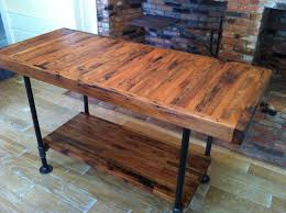 black iron furniture. Reclaimed Wooden Butcher Block Island With Black Iron Base And Single Shelves For Kitchen Storage Furniture