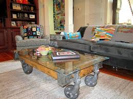 Industrial Glass Coffee Table Industrial Cart Coffee Table With Gorgeous Factory Style