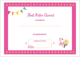 best sister printable award certificate dolls best sister printable award certificate