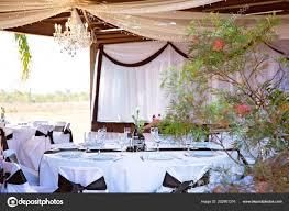 Reception Table Set Up Wedding Reception Table Set Decorated Theme Stock Photo