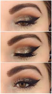 glitter wingedliner makeup cateye bold brown warm eyeshadow evening