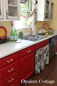 Kitchen Red And White Amusing Red And White Kitchen Cabinets Creative Small Home Remodel