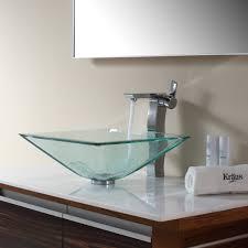 bathroom glass vessel sink and faucet combination  kraususacom
