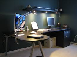 study lighting ideas. Cool IKEA Workspace Design Ideas : Navy Blue Wall With The Light Sabers And Curved Dark Wood Study Desk Lighting .
