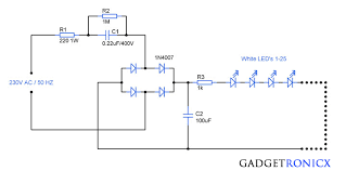 230v ac mains operated led light circuit diagram gadgetronicx 230v ac mains operated led light circuit diagram