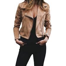 female long sleeve coat winter motorcycle streetwear faux leather suede jackets women jaqueta feminina short slim