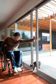 siple letting his cat out of the house through sliding glass doors