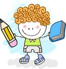 little boy with pen and book cartoon ilration