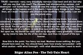 edgar allan poe short story structure and narrative technique poe tell tale heart quote