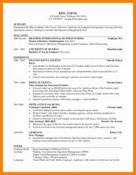 9 Sample Mba Resume Sap Appeal
