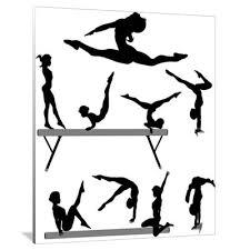 vault gymnastics silhouette. Female Gymnast Silhouette Balance Beam Gymnastics Canvas Art Vault