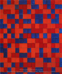 piet mondrian composition with a grid 8 checkerboard with dark colors oil painting