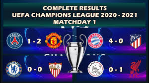 COMPLETE RESULTS MATCHDAY 1 ( UEFA CHAMPIONS LEAGUE 2020 - 2021 ) - YouTube