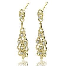 white freshwater seed pearl chandelier earrings in 14k yellow gold