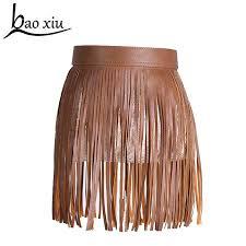 hot fashion women short skirt faux leather fringed belt tassel belt dress decoration punk cool tide accessories designer belts chasity belt from turban