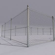 3D model Chain link metal fence CGTrader
