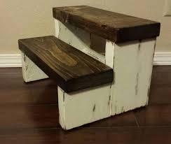 wooden step stool bathroom