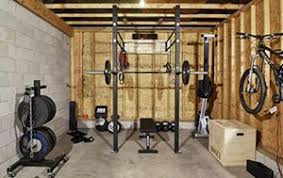 cool garage gym idea with free weights a power rack and bench press garage gym ideas a34