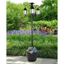 Sunray Madison 3 Light Black Integrated Led Solar Lamp Post And Planter