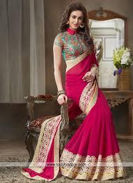 Designer Patches For Sarees Mesmeric Hot Pink Patch Border Work Designer Saree