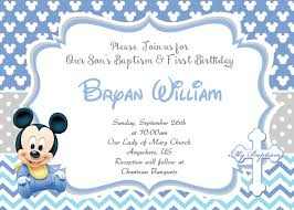 Baby Mickey Mouse Invitations Portrait Wonderful 1st Birthday