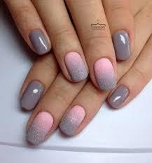 Grey And Pink Ombré Nail Design Nehty Francouzská Manikúra