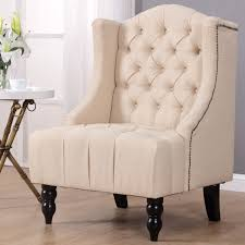 costway modern tall wingback tufted accent armchair fabric vintage chair nailhead beige 0