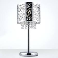crystal lamp shades stunning chrome finish drum shade and beautiful strands of clear crystal beads add