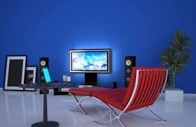 blue couches living rooms minimalist. Minimalist Blue Living Room Design With Red Tufted Lounge Chair Couches Rooms