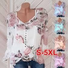 Plus Size S-5XL Women's Fashion Chiffon Shirt O-neck Long ... - Vova