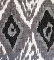 Small Picture Grey Linen Ikat Fabric by the Yard Modern Black White Ikat