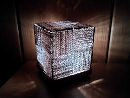 diy learn how to make a cool cube lamp using recycled corrugated cardboard