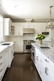 Traditional Transitional Kitchen White Cabinets Marble Counter Tops
