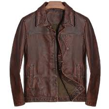 2019 mens leather suit jacket vintage genuine real cow leather coat punk casual red brown male brand clothing 2018 deri ceket erkek from peay