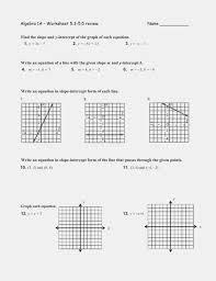 writing equations in slope intercept form answers algebra 13a worksheet 13