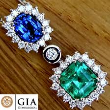 blue sapphire green emerald and diamond pendant with necklace untreated sapphire colombian gemstone 3 07 ct