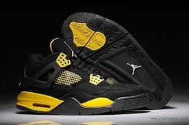 jordan shoes retro 4. ar315592 black-yellow retro jordan 4 leather shoes for mens