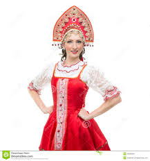 w in russian traditional costume stock photography image smile young w hands on hips portrait in russian traditional costume red sarafan and