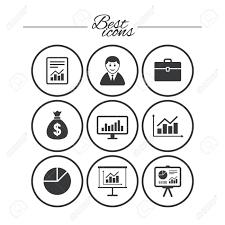 Statistics Symbols Chart Statistics Accounting Icons Charts Presentation And Pie Chart