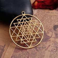 gold sri yantra pendant